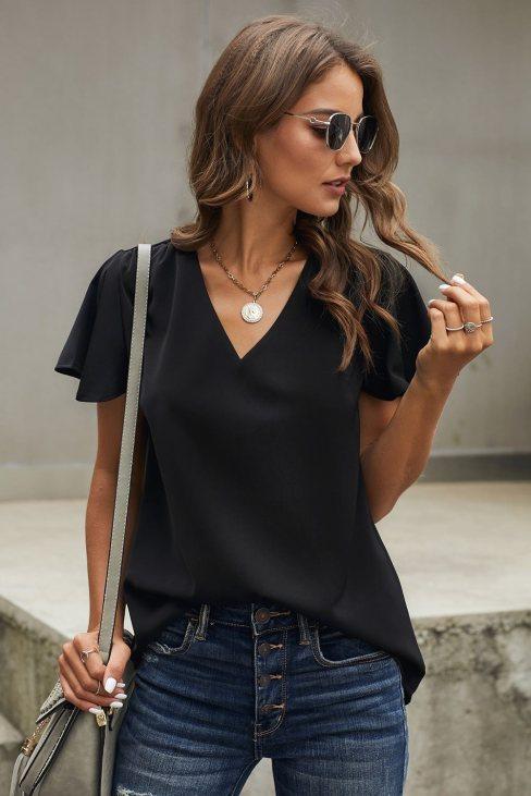 Valeria Womens V Neck Short Sleeve Tee Black