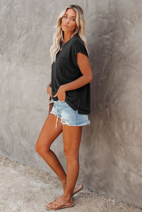 Valerie Women Pocketed Tee with Side Slits Black