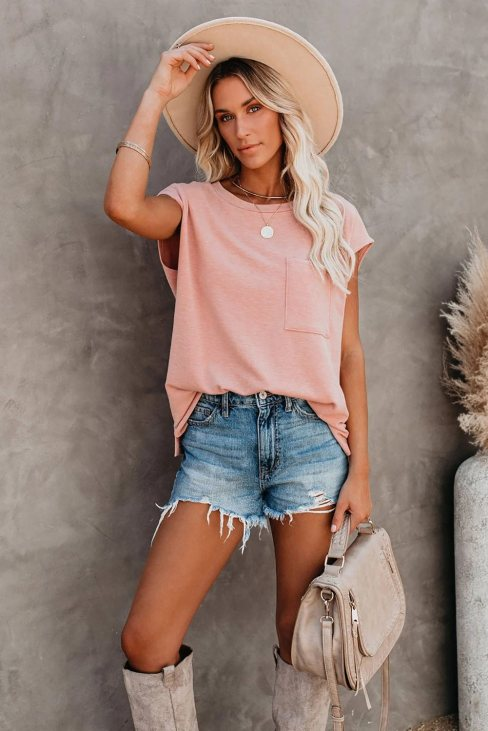 Valerie Women Pocketed Tee with Side Slits Pink