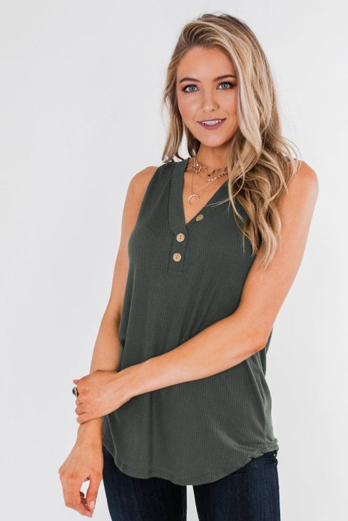 Vanessa Women's Just Say The Word 3 Button Tank Top Green