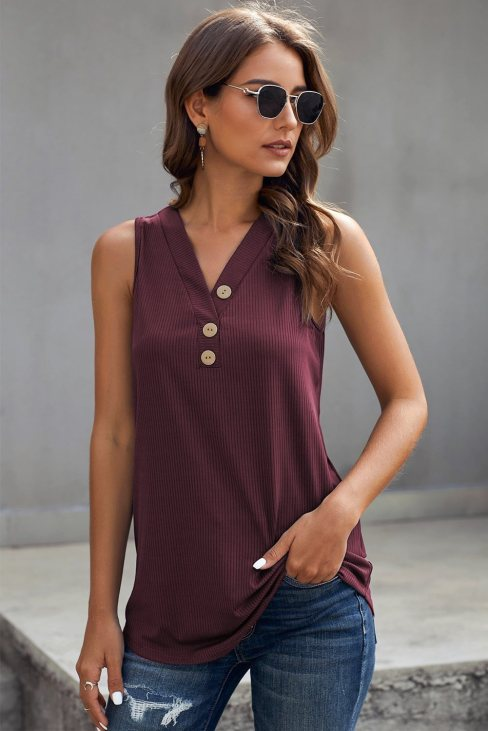 Vanessa Women's Just Say The Word 3 Button Tank Top Wine