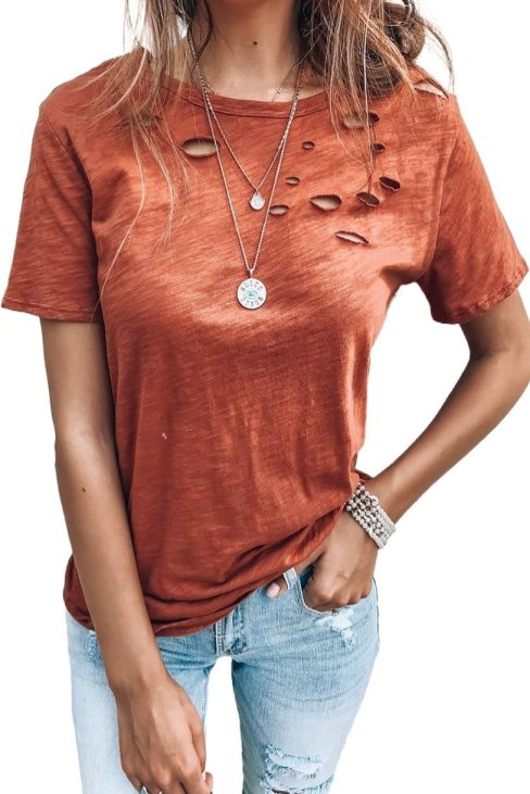 Venus Women Holes Crew Neck Cotton Mixed T-shirt Orange