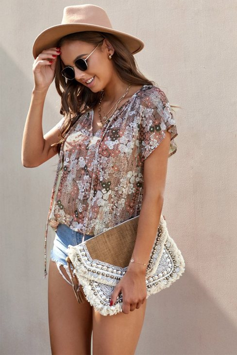 Vera Womens V-neck Short Sleeve Fashion Print Fantasy Fluttering Blouse Khaki