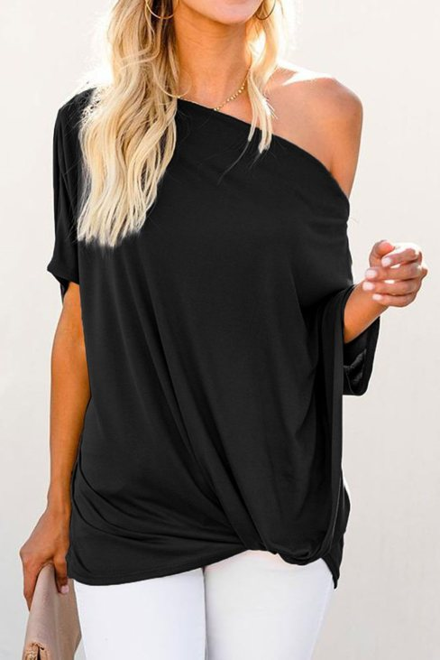 Victoria Womens Off-The-Shoulder Slash Neck Casual Loose Fitting Top Black