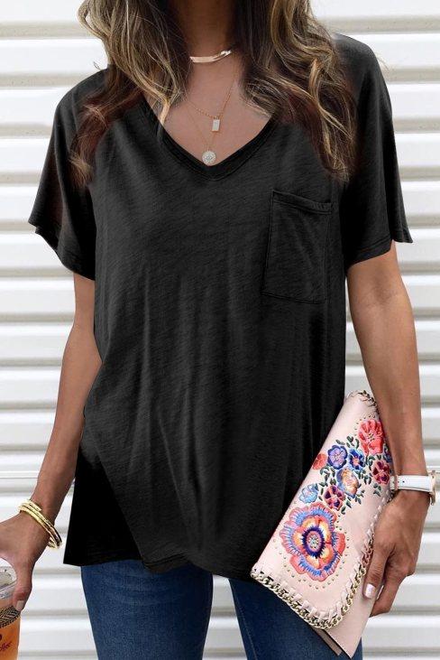 Viola Women's V Neck Short Sleeves Cotton Blend Tee with Front Pocket and Side Slits Black