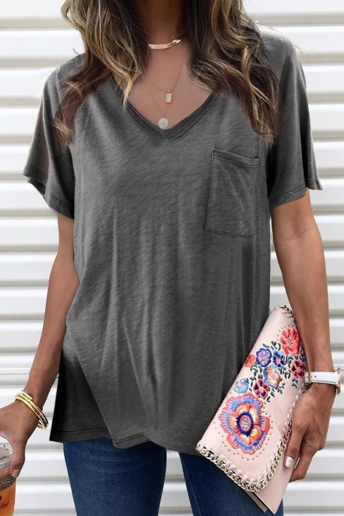 Viola Women's V Neck Short Sleeves Cotton Blend Tee with Front Pocket and Side Slits Gray
