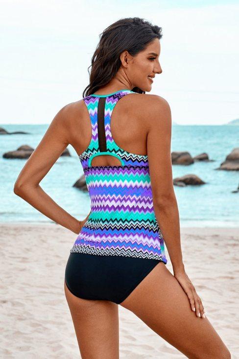 Stephanie Women Wave Stripe Racerback Tankini Swimsuit