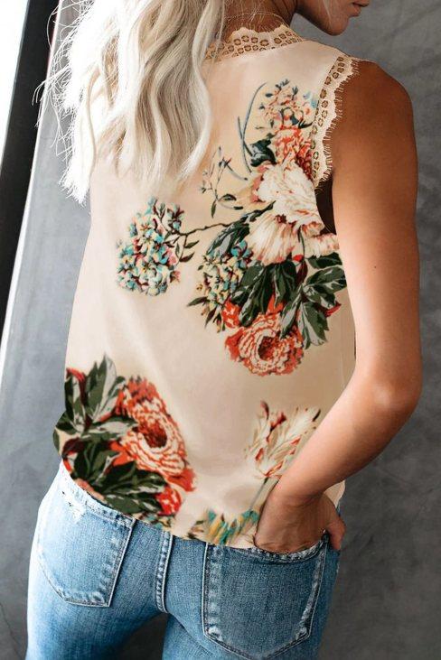 Wilhelmina Women V Neck Lace Trim Floral Tank Apricot