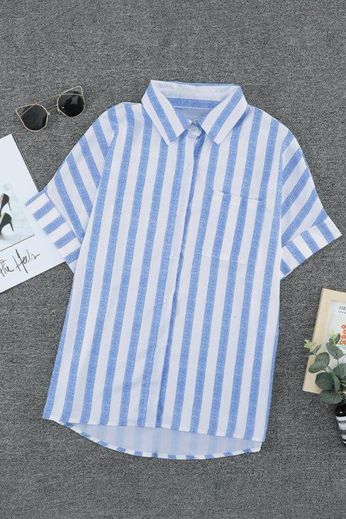 Winnie Womens V Neck Stripes Roll up Sleeve Button Down Shirt