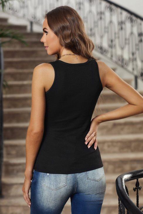 Xenia Women's Sleeveless Scoop Neck Button Tank Top Black