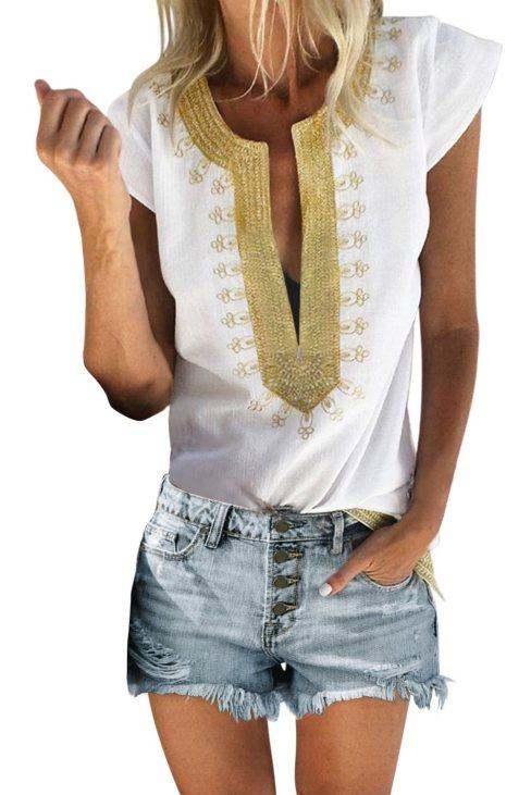 Zena Womens Short Sleeve Printed Neck Shift Blouse White