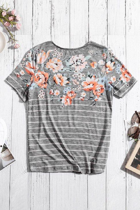 Zoe Women's Spring Vibe Floral & Stripe Tee Gray