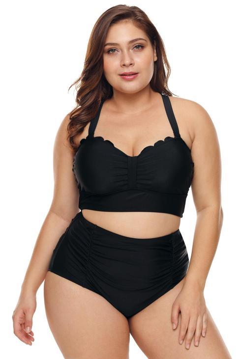 Bianca Women's Plus Size Scalloped Detail High Waist Bikini Swimsuit Black