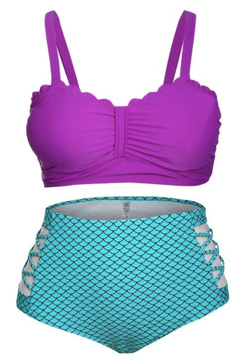 Bonita Women Plus Size Purple & Blue Scalloped Detail High Waist Swimsuit