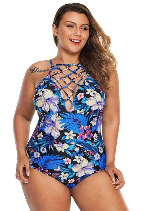 Bonnie Womens Plus Size High Neck Floral Teddy Swimwear