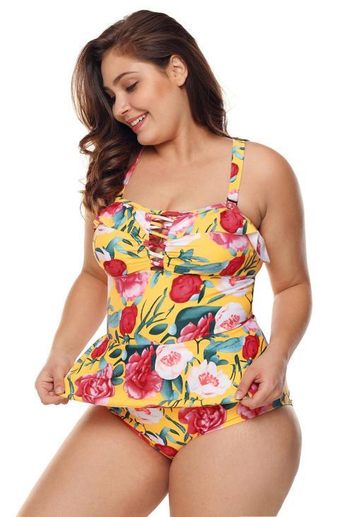 Brigitte Women's Plus Size Floral Print Crisscross Detail Teddy Swimsuit