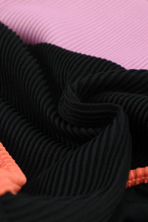 Canace Women Black Spaghetti Straps Colorblock Ribbed High Waist Bikini