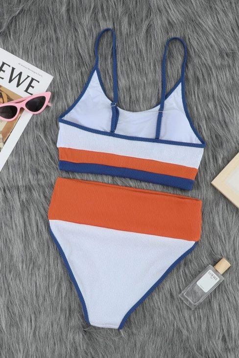 Canace Womens Spaghetti Straps Colorblock Ribbed High Waist Bikini White