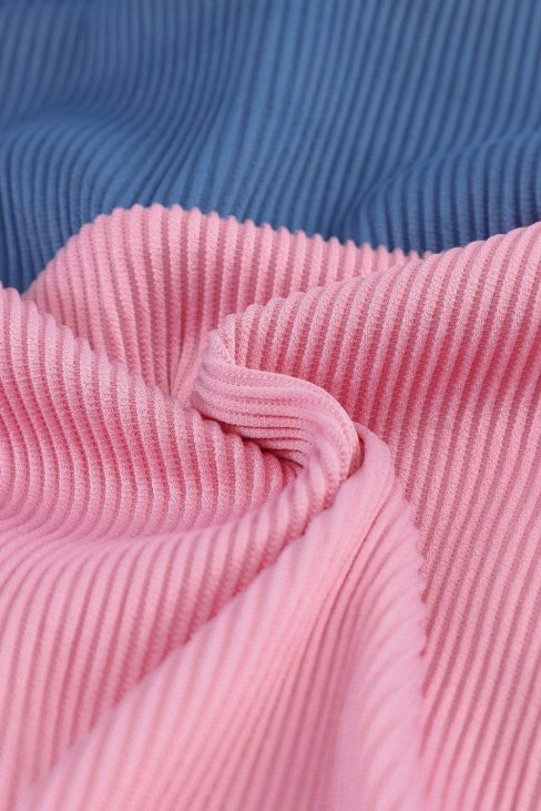 Carly Women's Spaghetti Straps Colorblock Ribbed Pink High Waist Bikini