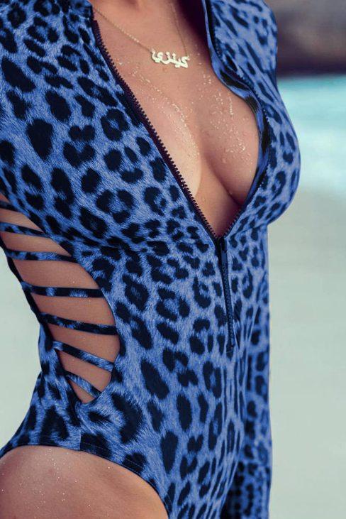 Carmen Women Print Zipper Cut-out Rash Guard Swimsuit Blue Leopard