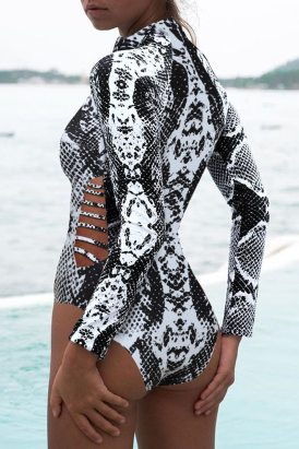 Carmen Women Print Zipper Cut-out Rash Guard Swimsuit Gray Snake