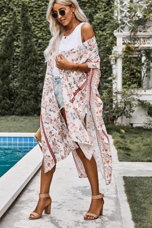 Claire Women Bohemian Floral Print Kimono White