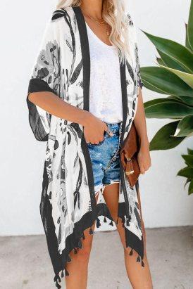 Marimekko Bohemian Print Open Front Loose Kimono Beach Cover up Black