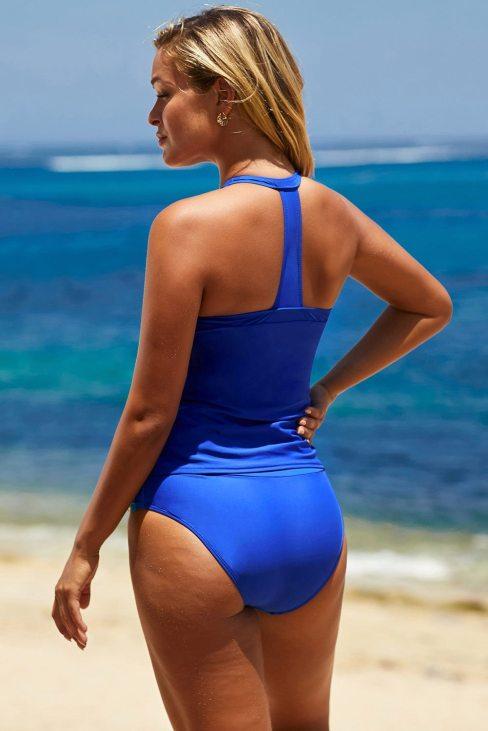 Rae Women's Retro Stripes Halter Neck Sporty Tankini Swimsuits Set Blue