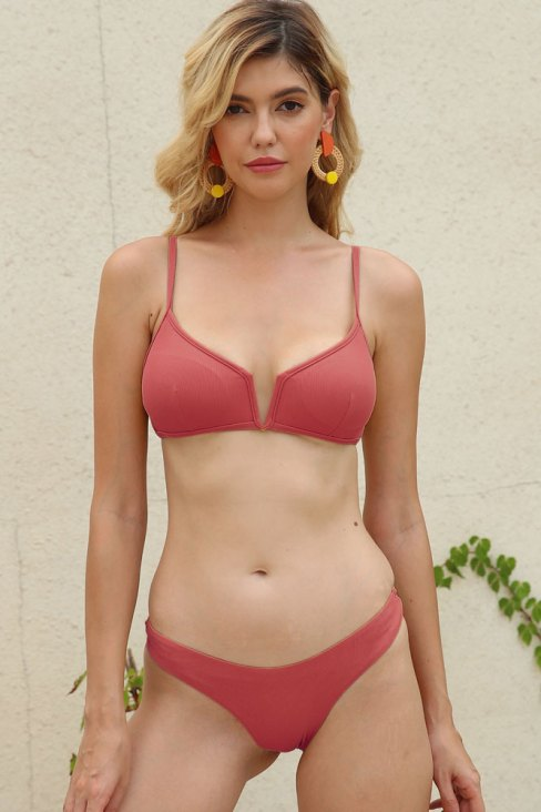 Adrianna Women Pure Color Halter Push Up Bikini Set