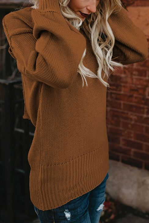 Ada Women Brown Hollow-out Back Sweater with Tie