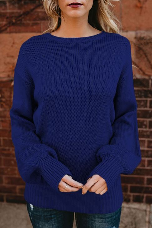Barbra Womens Hollow-out Back Sweater with Tie Blue