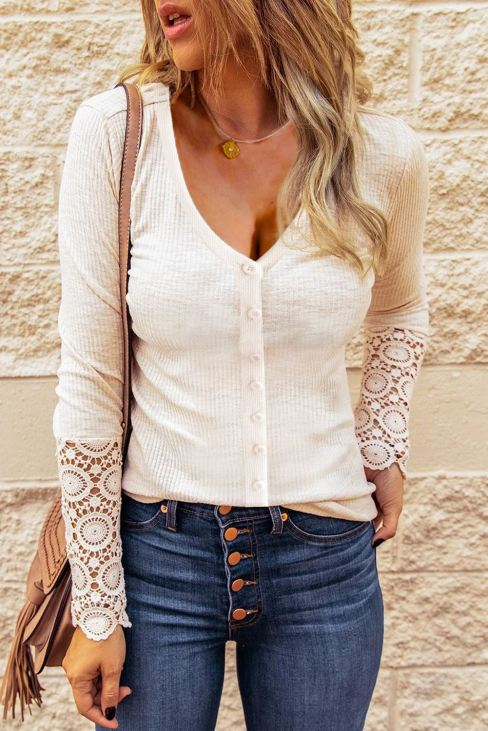 Camille Women Apricot Lace Button Slim-fit Knitted Cardigan