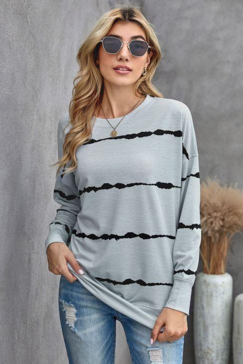 Eartha Women Tie-dye Stripes Gray Sweatshirt