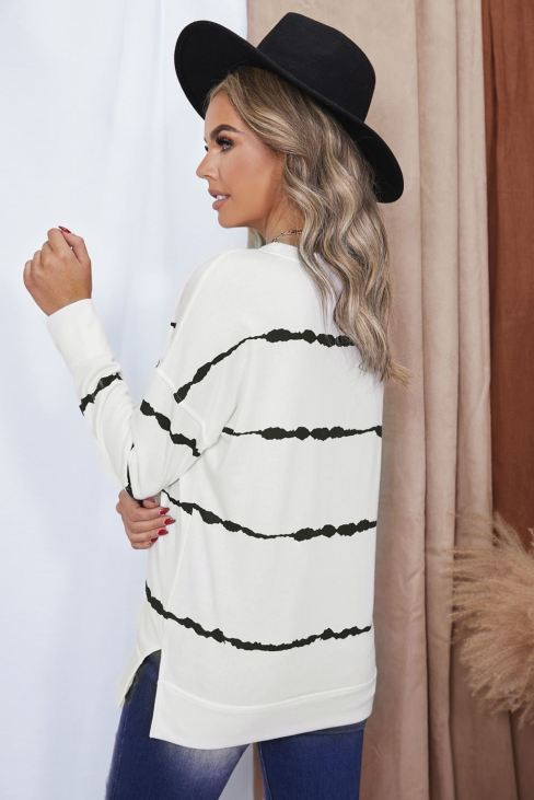 Edith Women Tie-dye Stripes Sweatshirt White