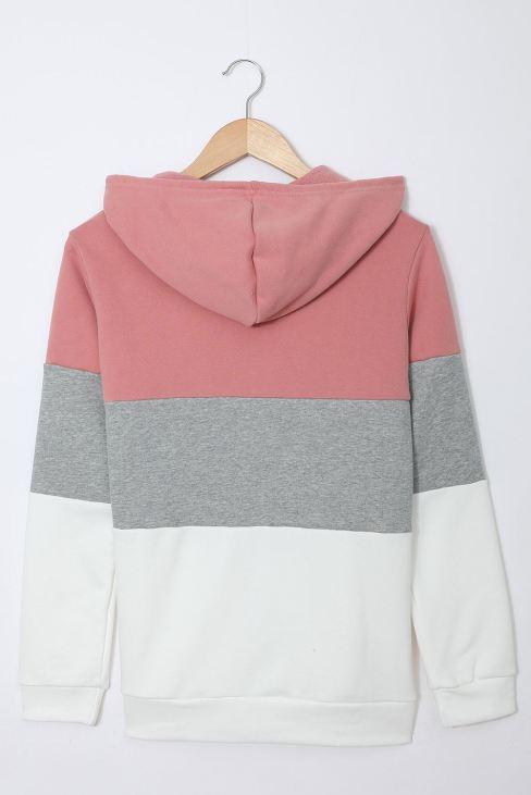Eileen Women Drawstring Hoodie Zip Front Color Block Splicing Pink