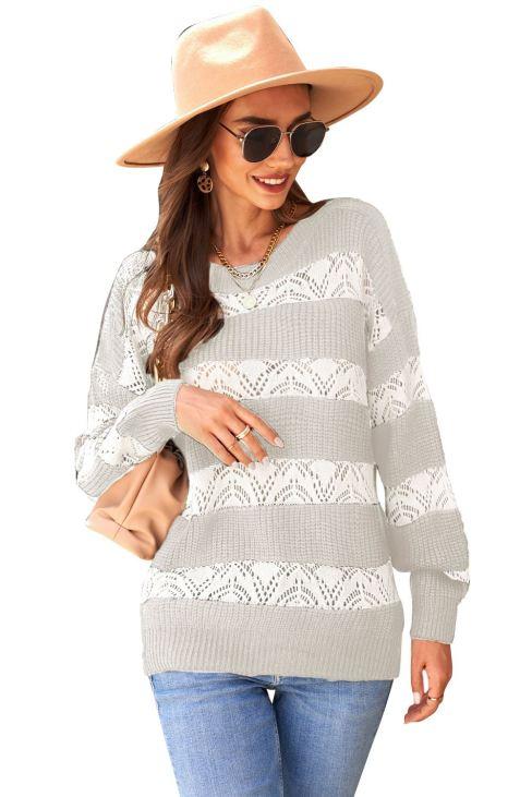Kayla Womens Striped Colorblock Knit Sweater White/Khaki