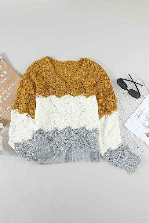 Madison Womens Yellow Color Block Knitted Cut Out Pullover Sweater