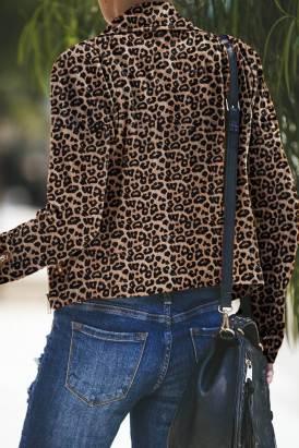 Nerissa Women's Zipped Notch Collar Short Jacket Brown Leopard
