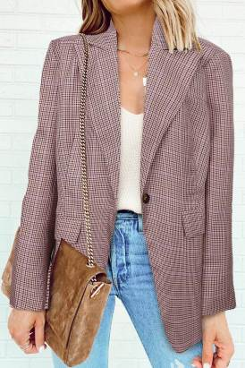 Nina Women Plaid Print Lapel Collar Buttoned Blazer