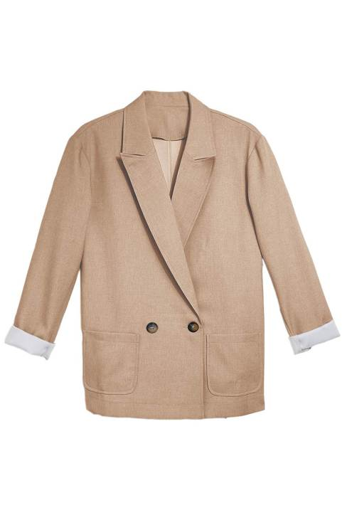 Nina Womens Apricot Buttoned Lapel Collar Blazer with Pocket