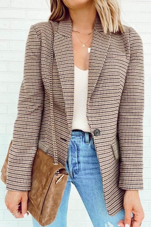 Nina Womens Plaid Print Lapel Collar Buttoned Blazer Khaki