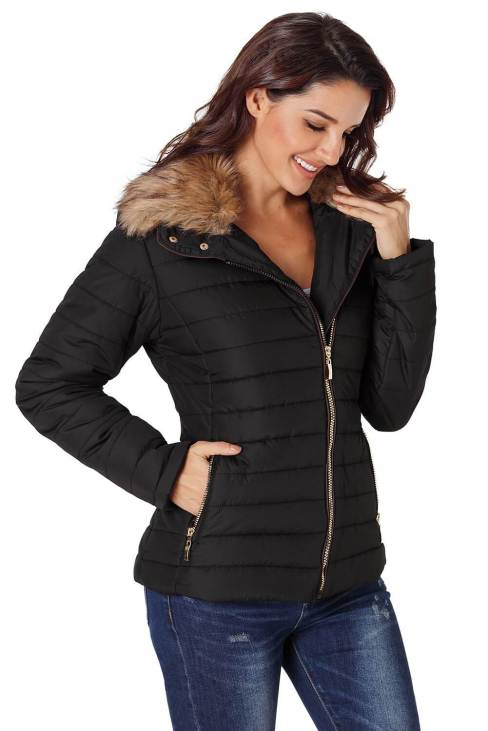 Nyako Women's Faux Fur Collar Trim Black Quilted Jacket