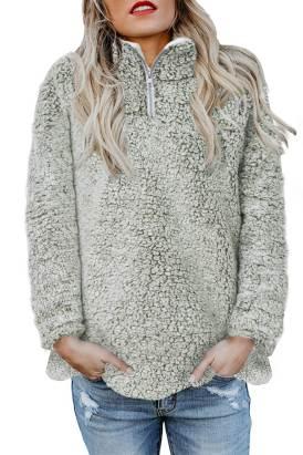 Odetta Womens Zipper Fleece Pullover Coat Light Green