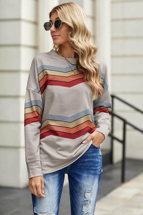 Olga Womens Classic Sweatshirt Gray Color Block