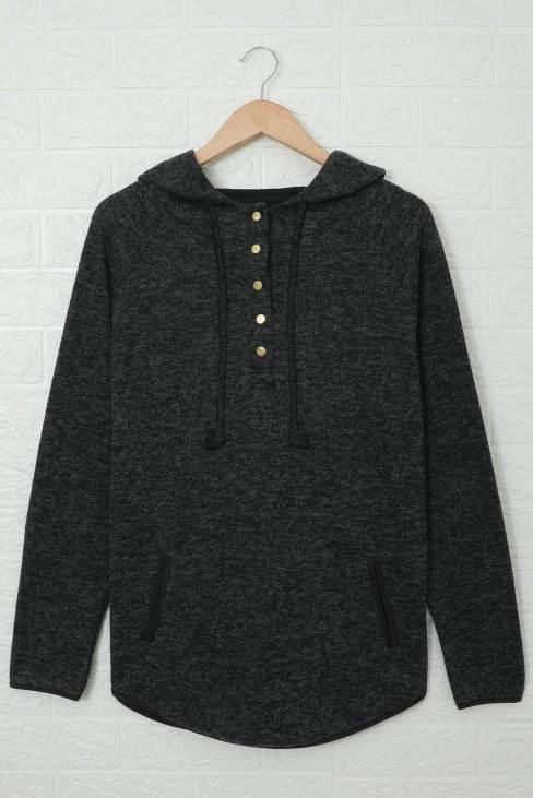 Olinda Women's Black Heathered Print Button Snap Neck Pullover Hoodie