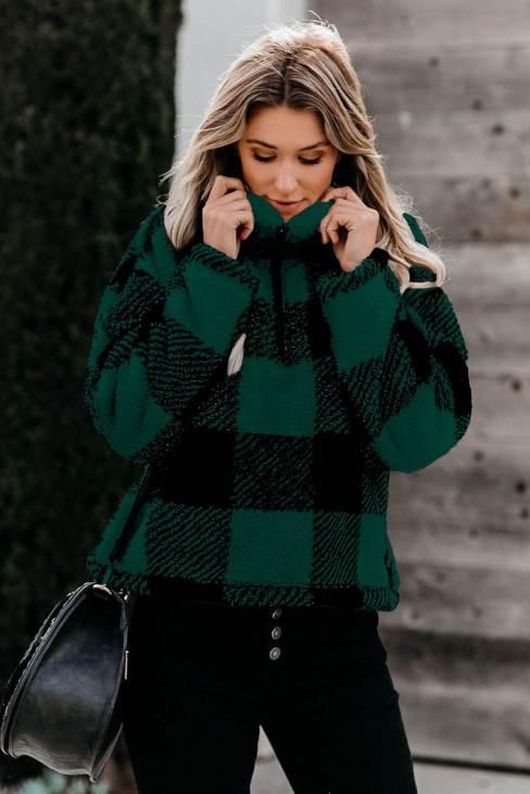 Ophelia Women's Plaid Zip Collar Plush Pullover Sweatshirt Green