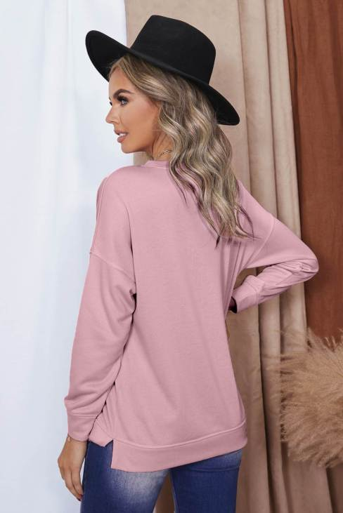 Pandora Womens Crew Neck Long Sleeve Sweatshirt Pink