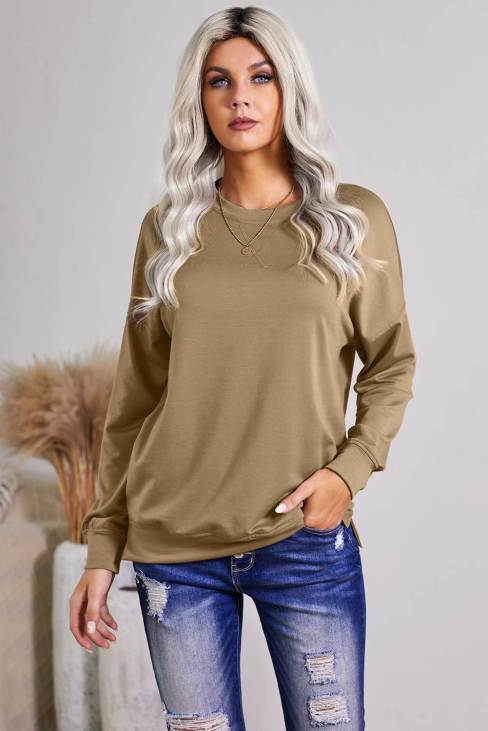 Pandora Women's Khaki Crew Neck Long Sleeve Sweatshirt