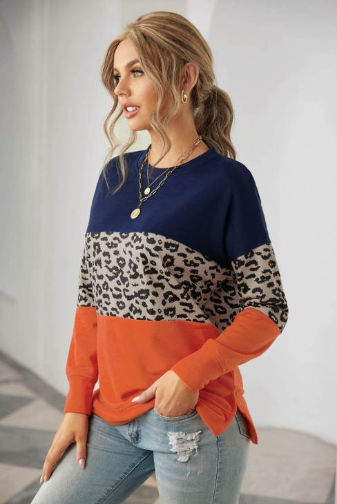 Psyche Women's Contrast Stitching Colorblock Blue Sweatshirt with Slits