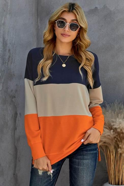 Psyche Womens Contrast Stitching Sweatshirt with Slits Colorblock Orange